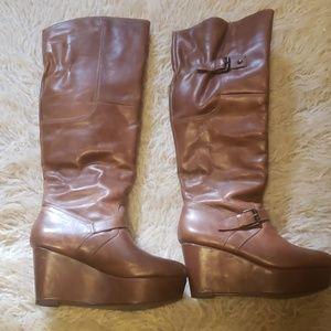 Brown, platform riding boots